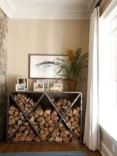 firewood storage and creative firewood rack ideas for indoor. Lots of great buil. firewood s Tiny Wood Stove, Indoor Wood Stove, Wood Stove Decor, Corner Wood Stove, Corner Tv, Wood Store, Diy Storage, Storage Ideas, Creative Storage