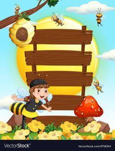 Wooden signs and bees flying in the garden vector image on VectorStock Classroom Labels, Classroom Decor, Kids Room Murals, Animal Art Projects, School Frame, Kids Background, School Painting, Preschool Crafts, Wooden Signs