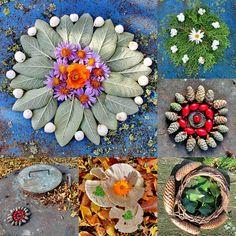 mano's welt: freitagsallerlei 39/2015 Art Et Nature, All Nature, Nature Crafts, Fall Crafts, Sacred Garden, Ephemeral Art, Flower Rangoli, Environmental Art, Outdoor Art