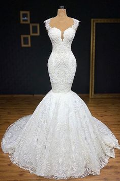 Unique White Straps Mermaid Wedding Dresses With Appliques Tulle Ruffles Lace Bridal Gowns Online Chic Wedding Dresses, Cheap Wedding Dress, Bridesmaid Dresses, Prom Dresses, Gown Wedding, Lace Wedding, Mermaid Dresses, Mermaid Wedding Gowns, Bridal Lace