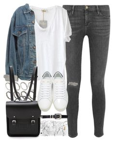 """Outfit for uni with a Cambridge satchel backpack"" by ferned ❤ liked on Polyvore featuring Frame Denim, American Vintage, ASOS, Levi's, The Cambridge Satchel Company and Yves Saint Laurent"