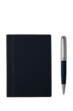 BOSS - A6 notebook and ballpoint pen gift set in blue fabric Writing Instruments, Ballpoint Pen, Blue Fabric, School Supplies, Boss, Notebook, Gifts, Favors, Presents
