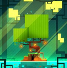 Some background art heavily inspired by Fez. I bought the game yesterday and WOW such a blast!!