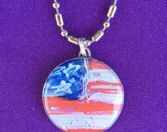 Folk Art Flag Pendant made from a Real Quarter, on a 24 inch ball/bar chain