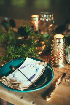 bohemian place setting, photo by Off Beet Productions http://ruffledblog.com/bohemian-nouveau-styled-wedding #weddingideas #placesetting