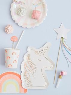 Unicorn Party Napkins by Meri Meri at The Original Party Bag Company Unicorn Party Plates, Unicorn Party Supplies, Pastell Party, Sweet Party, Fairytale Party, Rainbow Parties, Rainbow Paper, Neon Rainbow