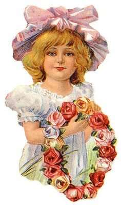 Victorian girl with rose wreath
