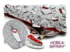 Stillkissen von HOBEA-Germany mit Störchen und Herzen in rot oder weiß. nursing pillow | Seitenschläferkissen | Schwangerschaft | pregnant | Stillen | Baby | Geburt | HOBEA | breastfeeding pillow