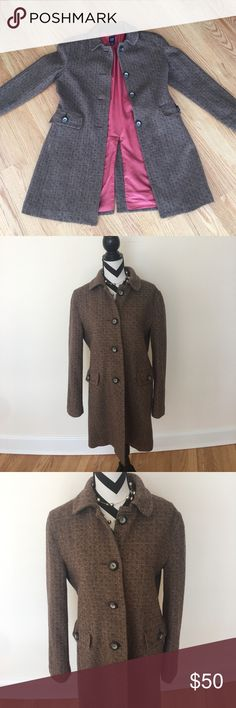 GAP Tweed Coat Brown and coral wool-blend coat. Fully lined. Size L. Excellent condition- freshly dry cleaned! GAP Jackets & Coats