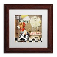 "Trademark Global 'Childhood II' by Color Bakery Framed Painting Print Matte Color: White, Size: 16"" H x 16"" W x 0.5"" D"