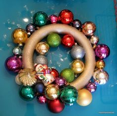 I love these ornament wreaths and have made one for each of the girls.  Pick up ornaments for 90% off at Target after Christmas!