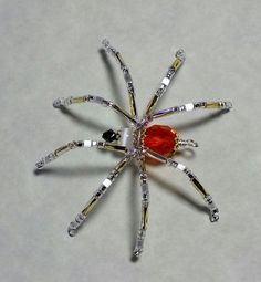 Jae Peters Handcrafted Beaded Spider Ornament & Pin Orange Faceted Czech Glass