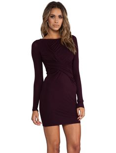 Wine colored sleeved dress for fall