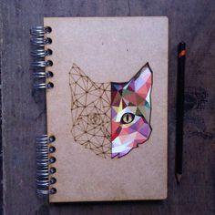 unique Geometric Tattoo - A5 recycled geometric cat