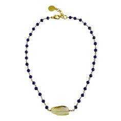 Wendy Mink Lapis Rosary with Lemon Citrine Nugget Choker Necklace