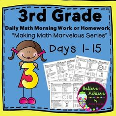 """I'm launching my new series, """"Making Math Marvelous!"""", to use for Grade Daily Math Morning Work or Homework! This FREEBIE Sample is Day 1 and includes the answer key!The first full set includes Days of this series for Grade Math Morning Work Elementary Teacher, Elementary Schools, Upper Elementary, Math Activities, Teacher Resources, Math Enrichment, 3rd Grade Math, Third Grade, Grade 3"""