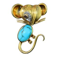VAN CLEEF & ARPELS Gold & Turquoise Mouse Brooch