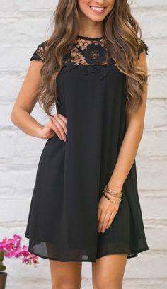 #winter #outfits black short sleeve dress