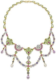 Renaissance-revival gold and enamel gem-set necklace, Victorian, turn of the century, Edwardian, Belle Epoque, festoon, swag, fringe, pear shaped, pink sapphires, yellow sapphires, rubies, purple spinel,