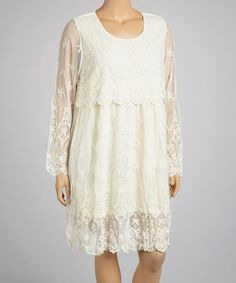 This Beige Sheer Dress - Plus by Lady Noiz is perfect! #zulilyfinds