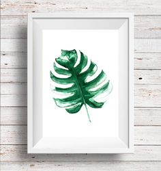 Monstera Leaf Art Watercolor Palm Leaf by NeilinaPrintables