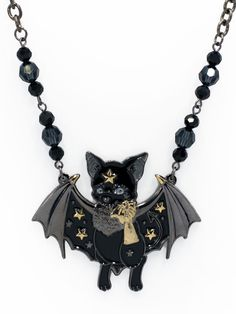 automatichoney | Bartholomew Bat Necklace · Black