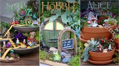 3 Movie Themed Fairy Gardens (Wizard of Oz - Hobbit - Alice in Wonderland)