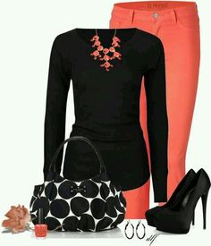 Coral jeans with black