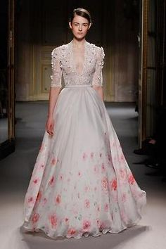 Georges Hobeika Haute Couture. BEAUTIFUL flower water color with matching lace up top