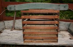 Vintage Wooden Egg Crate  - Wooden Egg Carrier -  Rustic Slatted Wood Crate with Inserts – Farm Décor – Rustic Egg Carton
