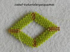 www.miscreacionesconabalorios.es: Como hacer unos pendientes de miyuki con forma de rombo.