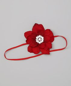 Take a look at this Red Rhinestone Flower Headband by Charlotte Rose Couture on #zulily today!