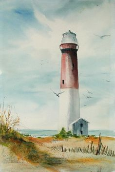 Anne Milstead Barnegat Lighthouse American: c. Watercolor on paper Beach Watercolor, Watercolor Pictures, Watercolor Landscape, Watercolour Painting, Watercolors, Lighthouse Drawing, Lighthouse Art, Landscape Drawings, Landscape Paintings