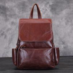Bolsos de cuero auténtico resistente para mujeres mochilas vintage marrón para el ordenador portátil [AL93141] - €65.55 : bzbolsos.com, comprar bolsos online