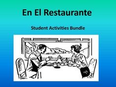 This product contains several activities to complement restaurant/food unit for Spanish class. Product contains six pages as follows: pg.1 cover  pg. 2 Student Task -write a dialogue in Spanish between waiter and customer (I use this for a project grade and have students act it out in class) pg. 3 Common Core Rubric for restaurant dialogue pg. 4 Student task- Making a menu for a restaurant they will open (I use this for a homework, but can be done in class) pg. 5 Lectura-short reading with…