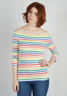 Cafe Parfait Top in Rainbow - 3/4 Sleeves. Secure a window seat at your favorite coffee shop in this colorful top - a tried-and-true garment that's part of our ModCloth namesake label! #white #modcloth