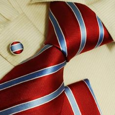 Red stripes silk ties for men Blue mens gifts formalwear silk necktie cuff links Hanky set