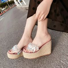 US$ 50.22 - 2021 Summer Women Wedge Sandals Rhinestone High Heels Platform Shoes Fashion Young Ladies Sandals Wedge Heel 10cm A1338 - www.joymanmall.com Wedge Sandals Outfit, Wedge Heels, Women's Shoes Sandals, High Heels, Best Slippers, Clearance Shoes, Young Fashion, Black Leather Shoes, Platform Shoes