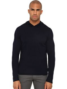 Vince - Feather Weight Cashmere L/S Pull Over Hoodie (Coastal Blue) - Apparel