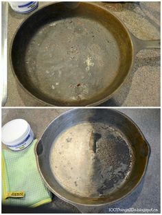 ENJO Marble Paste - check out the before and afters here! (Cast iron, china, tea/coffee stains, fry pans etc) Stainless Steel Pans, Before After Photo, Clean Machine, Coffee Staining, Cooking Tools, Cleaning Hacks, Cast Iron, Dutch Oven, Household Tips
