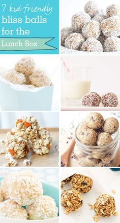7 lunch box bliss balls the kids will love. Kid-friendly, nut-free bliss ball re… 7 lunch box bliss balls the kids will love. Kid-friendly, nut-free bliss ball recipes perfect for school lunches and snack time Lunch Box Bento, Lunch Snacks, Healthy Snacks, Nut Free Snacks, Vegan Lunch Box, Dinner Healthy, Lunch Boxes, Healthy Recipes, Lunch Box Recipes