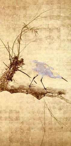 Detail. White Heron on Willow. One of a pair of Japanese folding screens with Crows and Persimmon. Takeuchi Seiho.