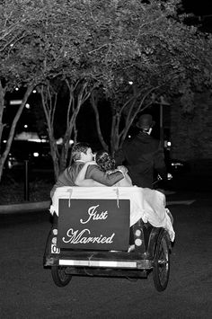 Newly weds Ashley and Stephen Hammond take a pedicab in downtown Savannah. Photographed by Mackensey Alexander. From our Fall/Winter '13 Weddings issue.