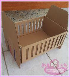 Nossos Momentos: Berço de boneca feito de caixa de papelão - Inventando com a mamãe Diy Cardboard Furniture, Cardboard Toys, Baby Doll Furniture, Barbie Furniture, Baby Shower Crafts, Baby Shower Decorations, Baby Shower Diapers, Baby Boy Shower, Cute Diy Room Decor