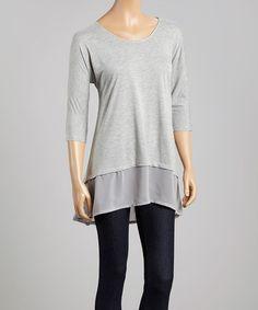 Look at this #zulilyfind! Dark Gray Mélange Chiffon-Hem Three-Quarter Sleeve Top by Dantelle #zulilyfinds