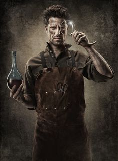 Diageo's Stark Raving mascot.   I want a leather apron. Leather overalls would be pretty awesome too.