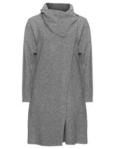 Kokomarina Materialmix-Mantel mit Kragen in Grau / Meliert