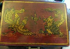 CHINESE LEATHER OVER WOOD BOX PHOENIX DRAGON