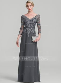 A-Line/Princess V-neck Floor-Length Beading Sequins Zipper Up Sleeves 3/4 Sleeves No Steel Grey General Plus Chiffon Lace Height:5.7ft Bust:33in Waist:24in Hips:34in US 2 / UK 6 / EU 32 Mother of the Bride Dress