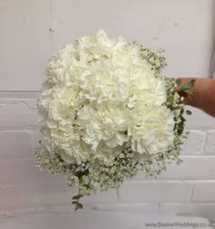 All White Bridesmaid hand tied bouquet of Carnations, Gypsy Grass and Eucalyptus  Wedding Flowers Liverpool, Merseyside, Bridal Florist, Booker Flowers and Gifts, Booker Weddings